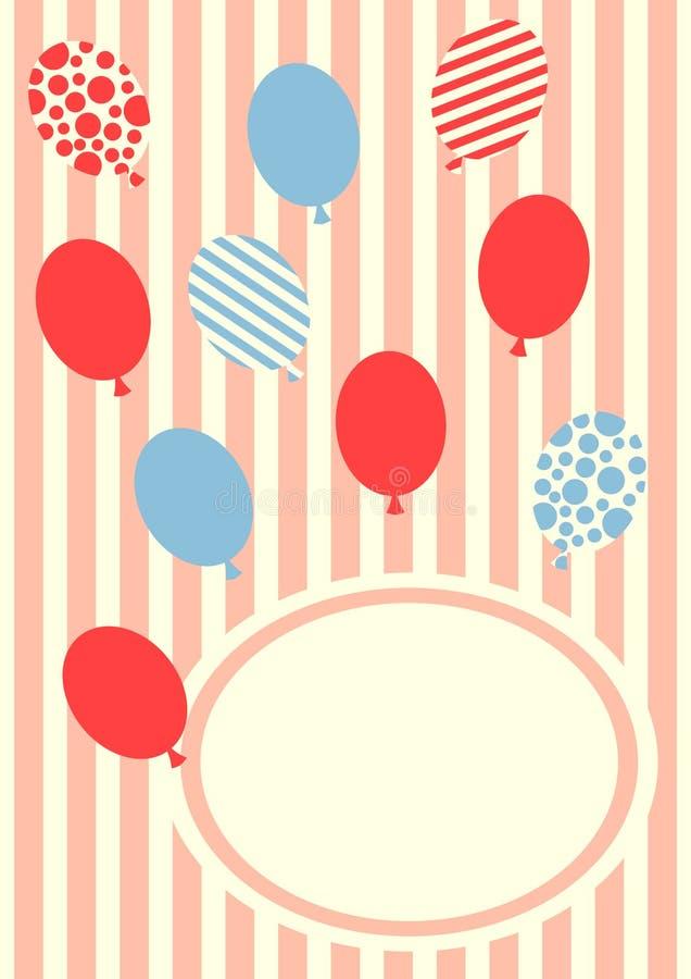 Birthday balloons invitation card stock illustration