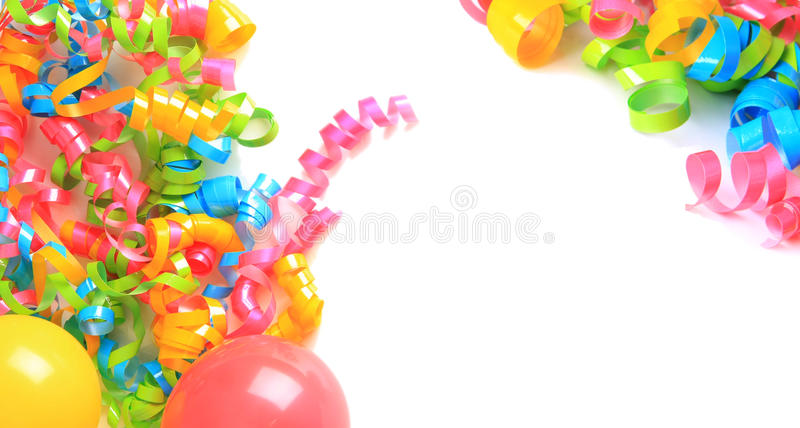 Birthday balloons and ribbons. Birthday decoration of ribbons and balloons stock photo
