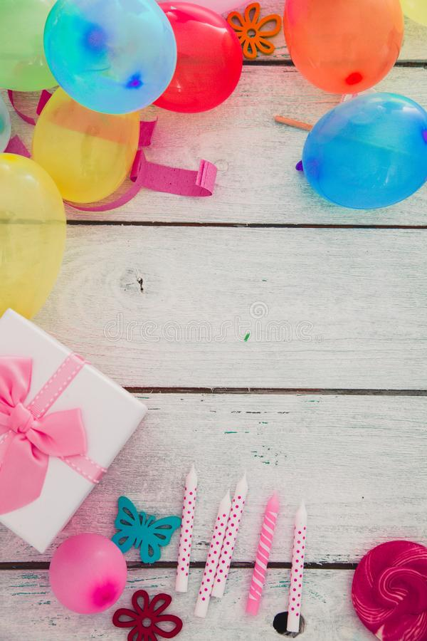 Birthday baloons and objects royalty free stock images