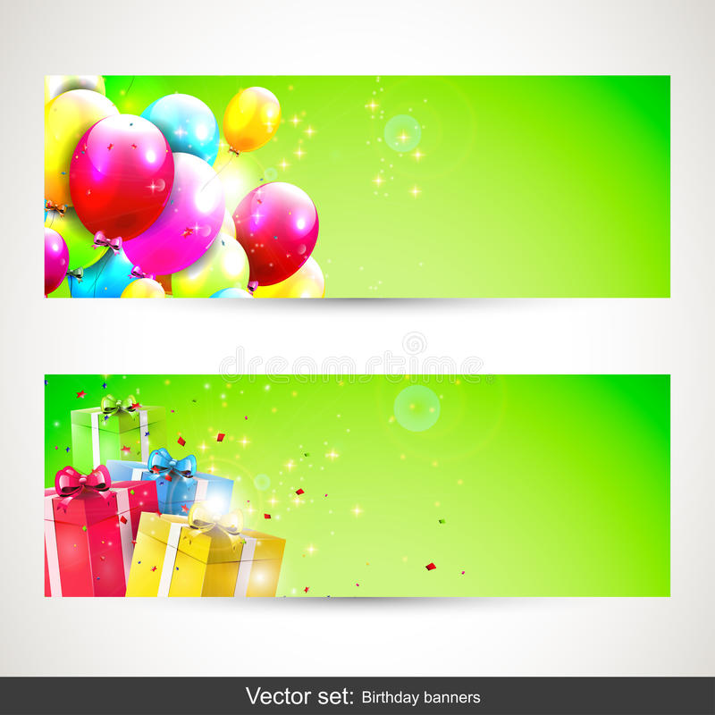 Birthday banners - vector set vector illustration