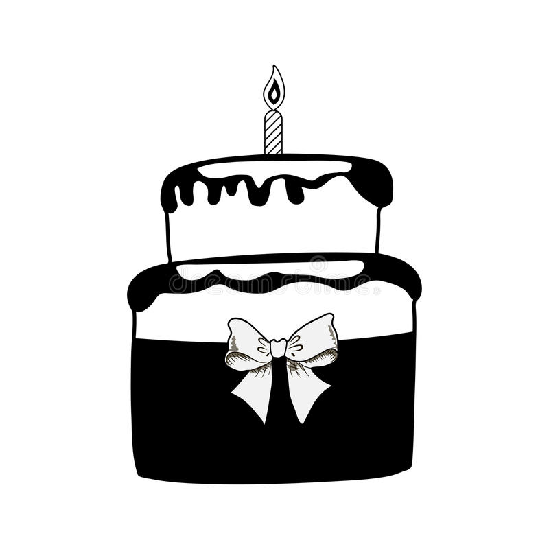 Birthday black cake with one candle stock illustration