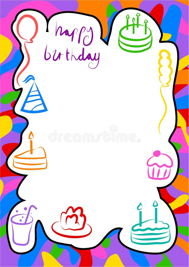 Birthday border. Birthday frame design - just add your own invitation or photo vector illustration