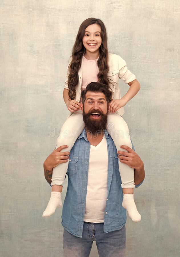 Birthday boy. Happy to be father. Dad and daughter having fun. Cheerful father. How dad approaches life will serve. Example for daughter build own life. Fun stock photos