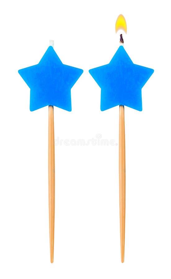 Birthday burning candle star set isolated stock images