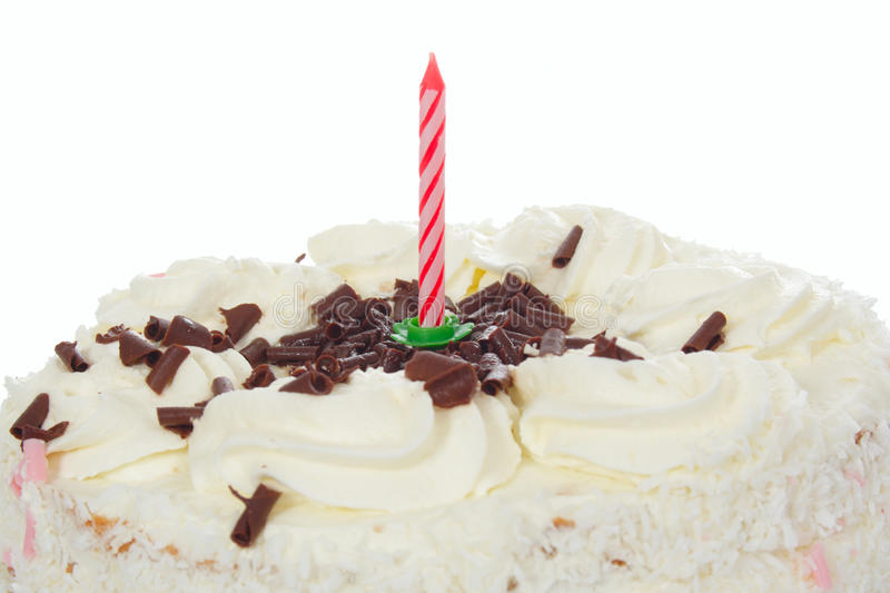 Birthday Cake. The birthday white cake from one candle stock photo