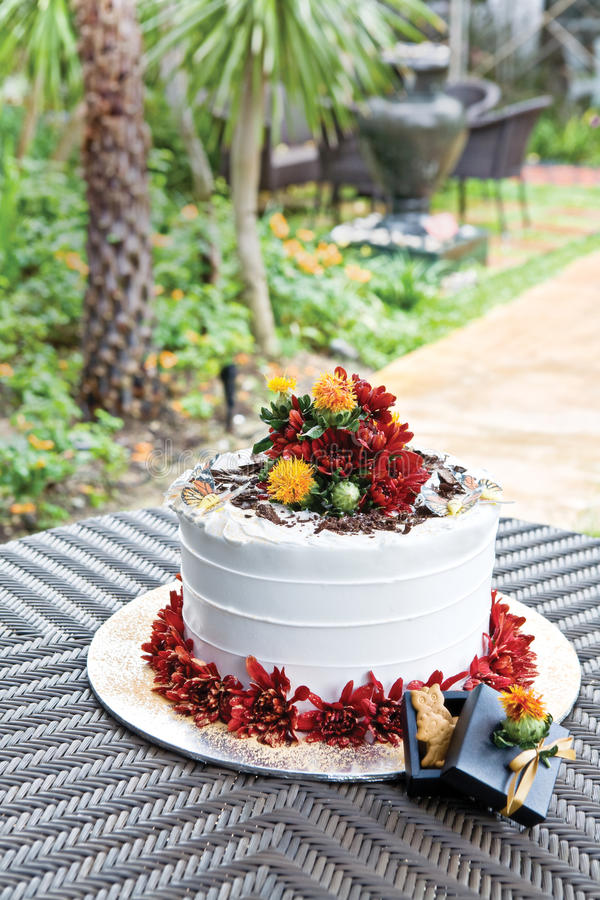 Birthday cake. In tropical garden setting stock photo