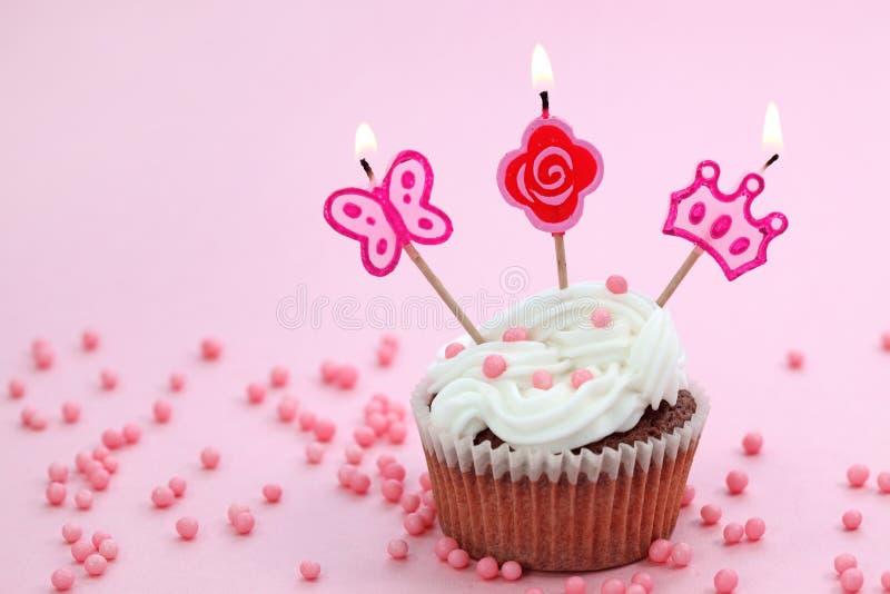 Birthday cake. On pink background stock image