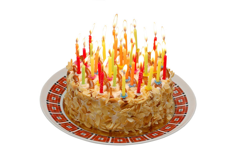 Birthday Cake. Isolated on white stock image