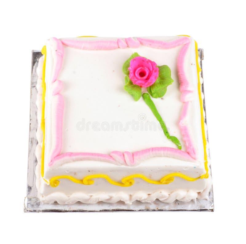 Birthday cake. Colorful birthday cake on isolated background royalty free stock photos