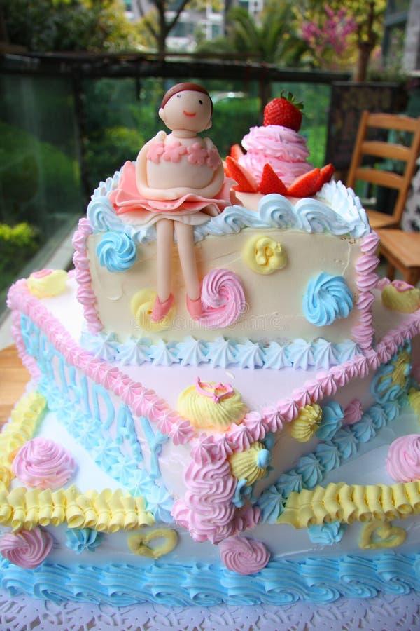Birthday cake. Happy birthday cake with ballet girl stock photography