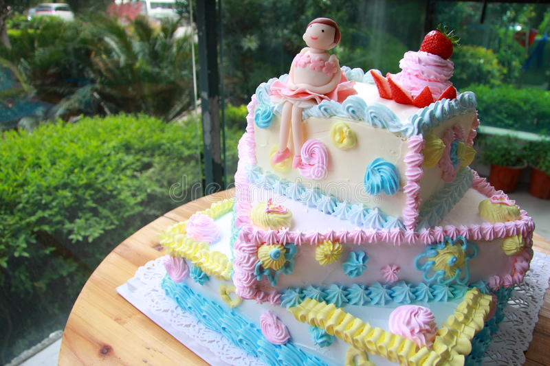 Birthday cake. Happy birthday cake with ballet girl royalty free stock photo