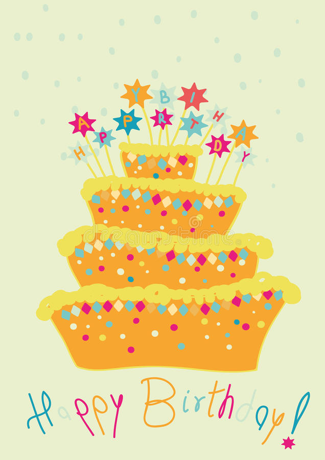 Birthday cake. Abstract colour birthday cake on background stock illustration