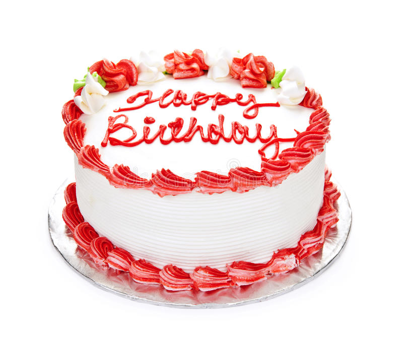 Birthday cake. With white and red icing isolated on white stock images