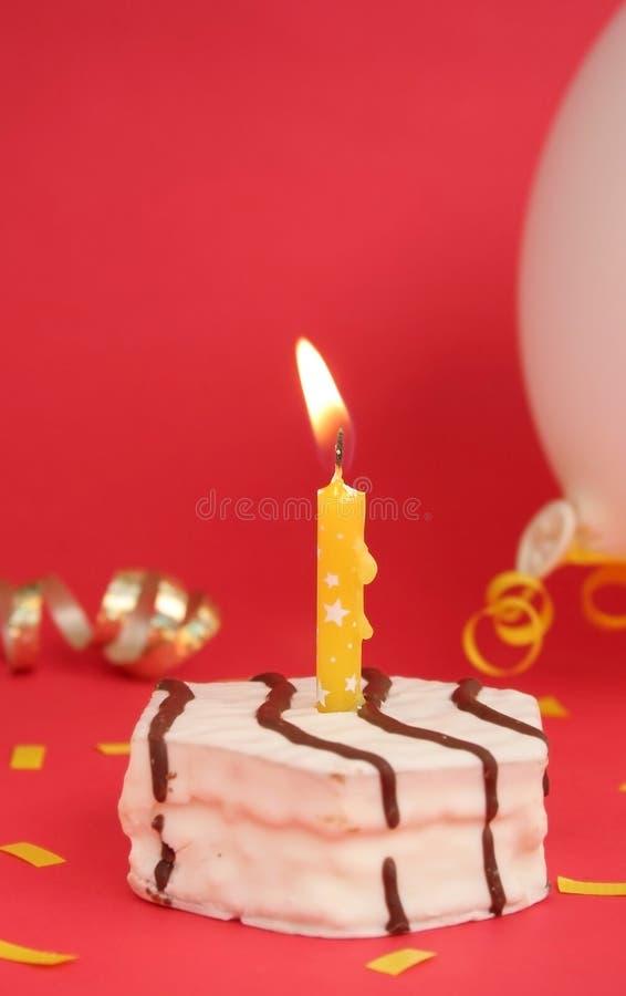 Birthday cake. One white birthday cake overr white background royalty free stock images
