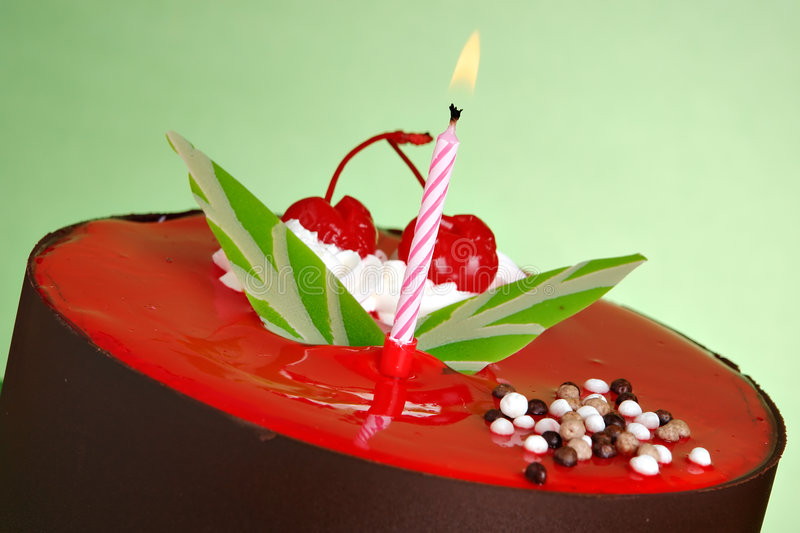 Birthday Cake. With two cherries on top royalty free stock photo