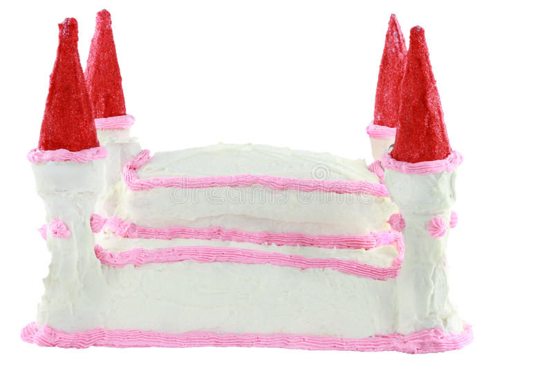Birthday Cake. In the shape of a castle isolated on a white background. Towers are made from ice cream cones with colored sugar royalty free stock photography