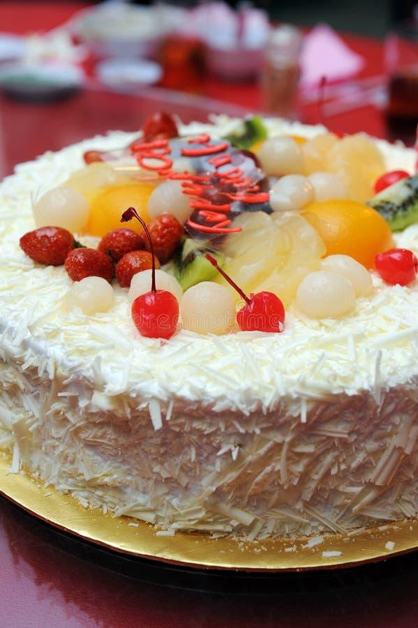 Birthday Cake. A delicious birthday fruit cake royalty free stock photos