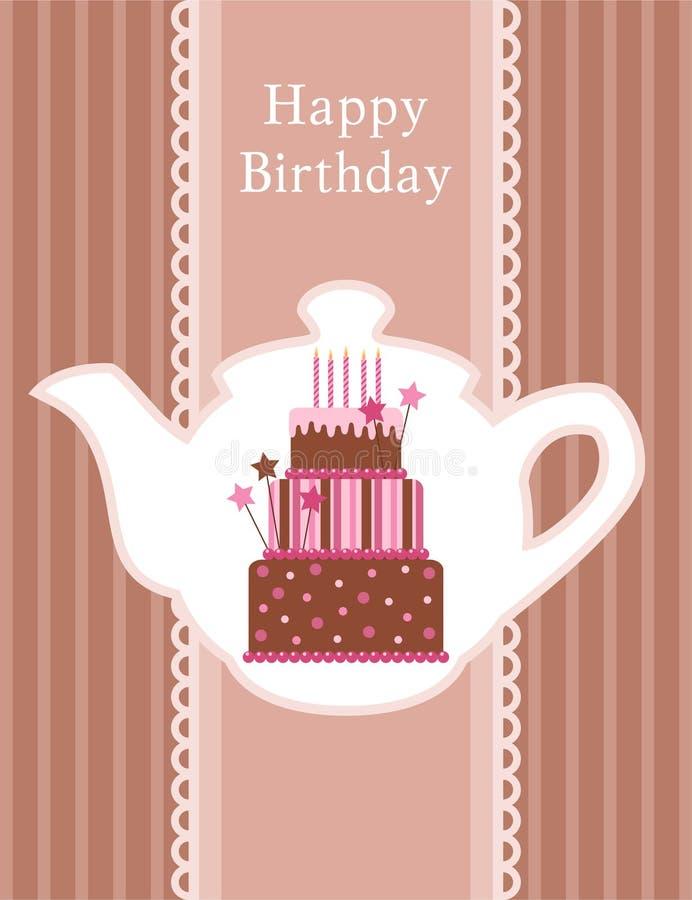 Birthday cake. Vector illustration of birthday card stock illustration