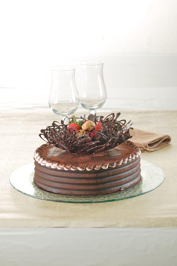 Birthday Cake. Delicious and pretty Chocolate birthday cake stock photo
