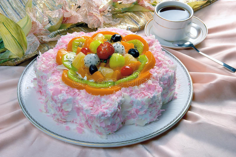 Birthday Cake. Closeup view with coffee stock image