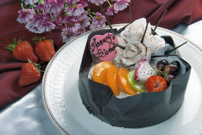 Birthday Cake. Closeup view with flower stock photos