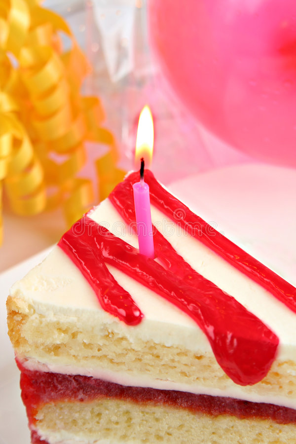 Birthday cake. Perfect slice of delicious birthday cake royalty free stock images