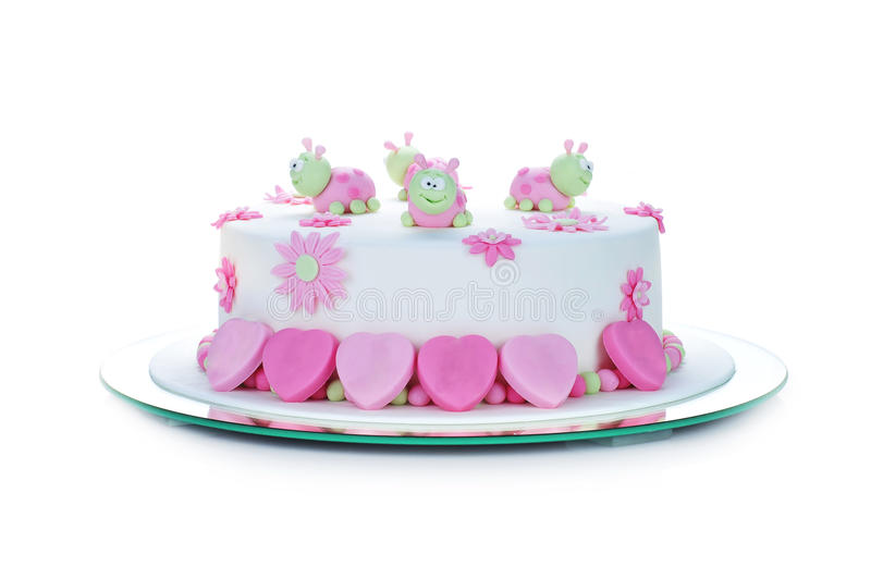 Birthday cake. With white frosting and ladybugs royalty free stock images