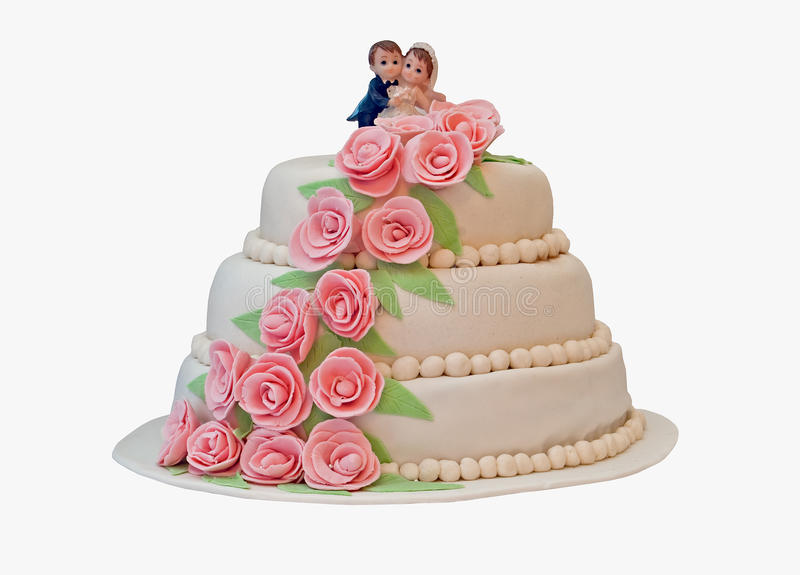 Birthday cake. On white background royalty free stock photography