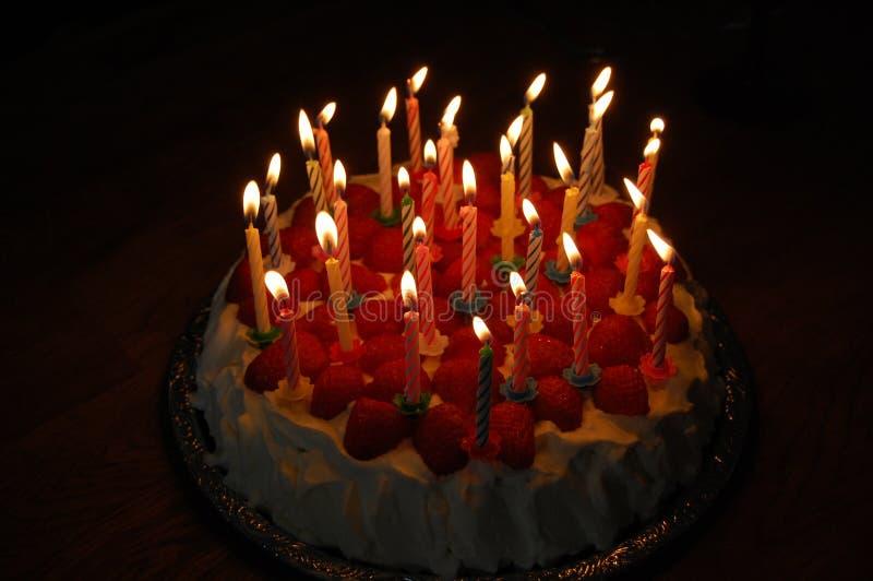 Birthday cake. Homemade birthday cake with 30 lit candles stock photography