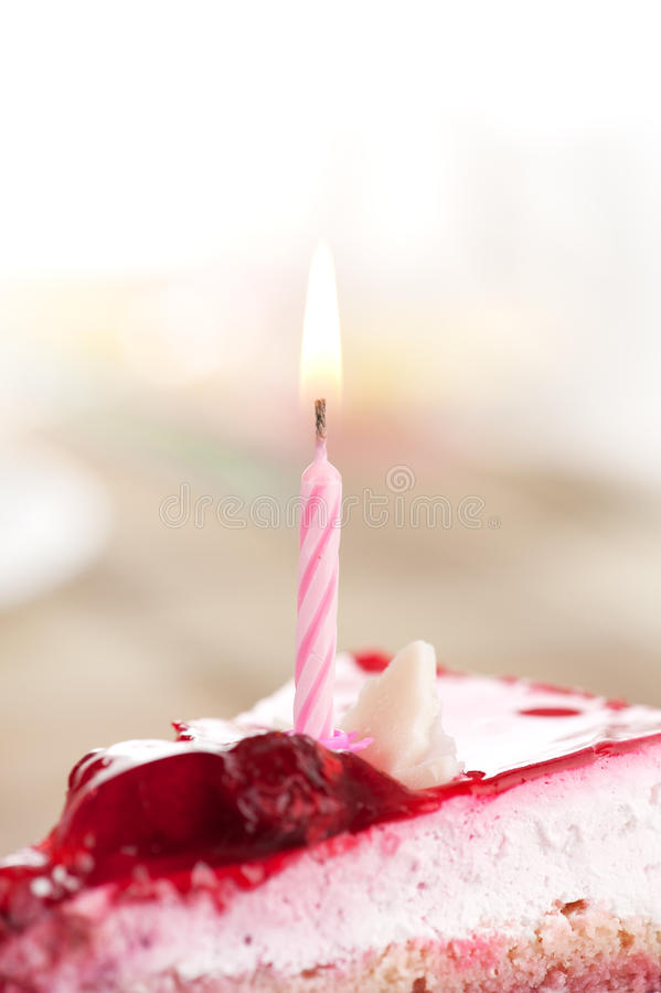 Birthday cake. With candle closeup stock photo