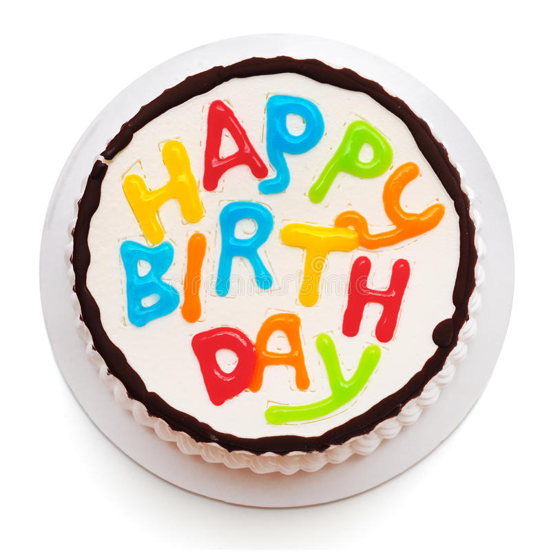 Birthday cake. Isolated on white royalty free stock images