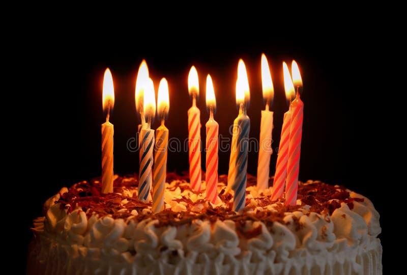 Birthday Cake. Photo of a Birthday Cakein in dark light stock photography