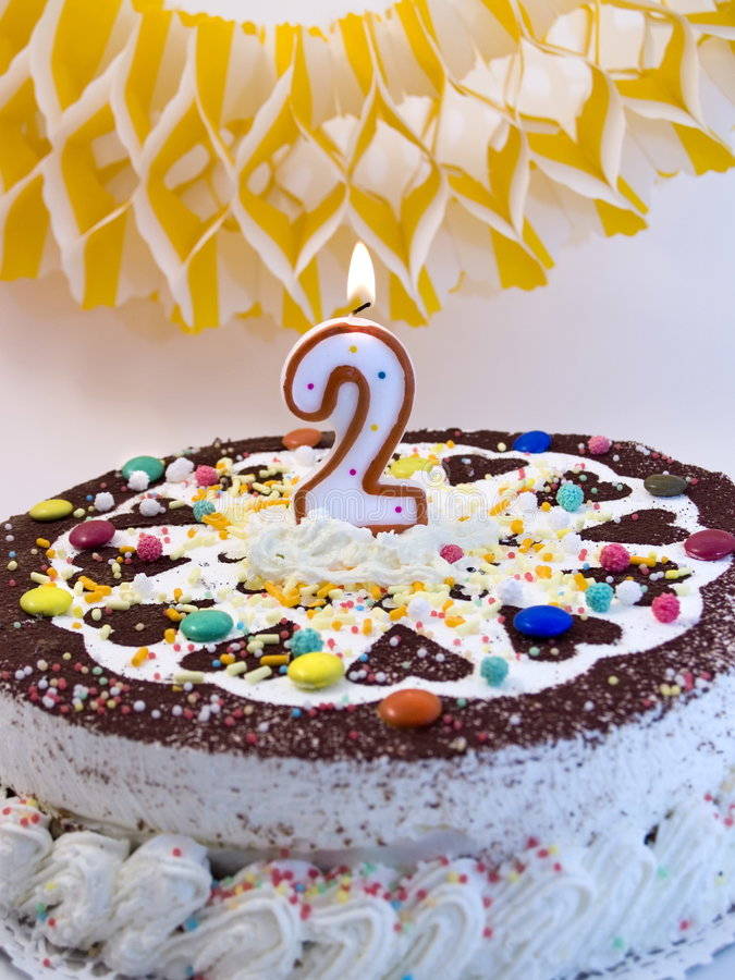 Birthday cake 5. Birthday cake with number two candle stock images