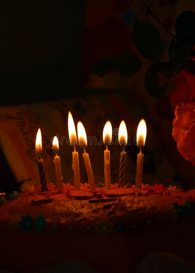 Birthday cake. Happy Birthday cake with candles royalty free stock image