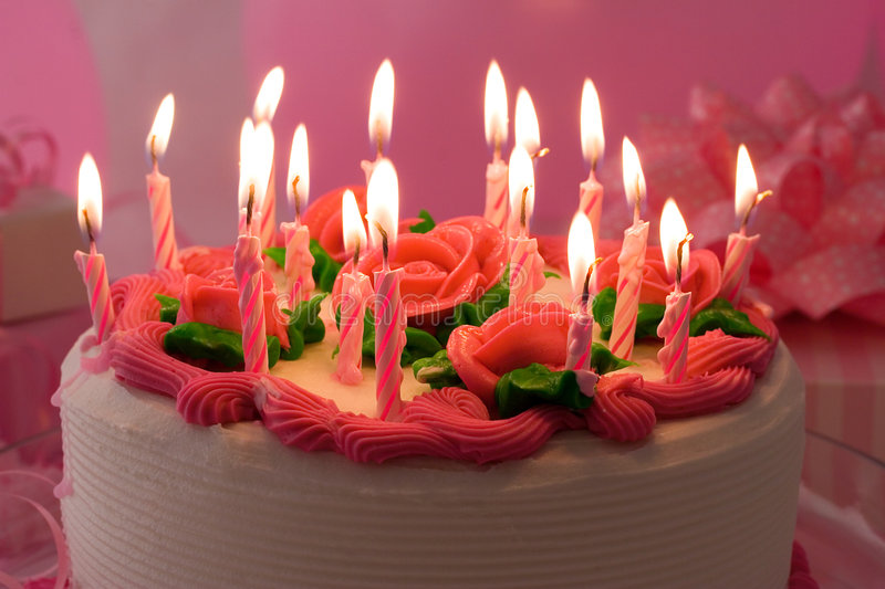 Birthday Cake. With candles royalty free stock photos
