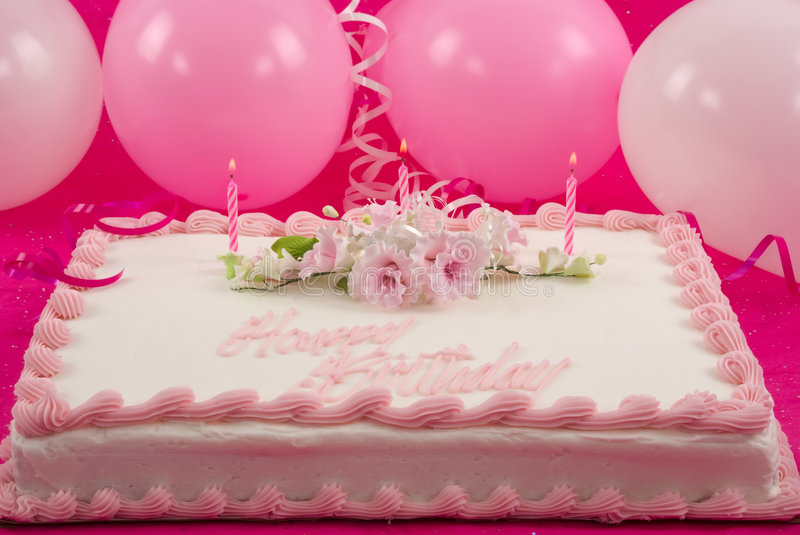 Birthday Cake. Delicious beautifully decorated birthday cake and balloons royalty free stock photos