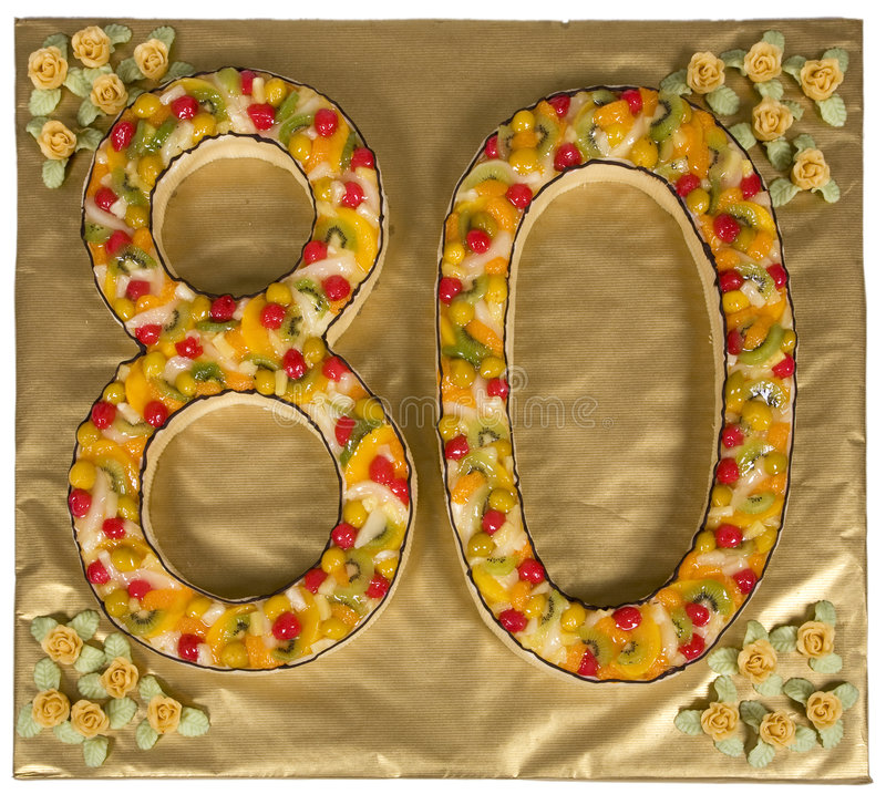 Birthday cake. For 80 year old stock image