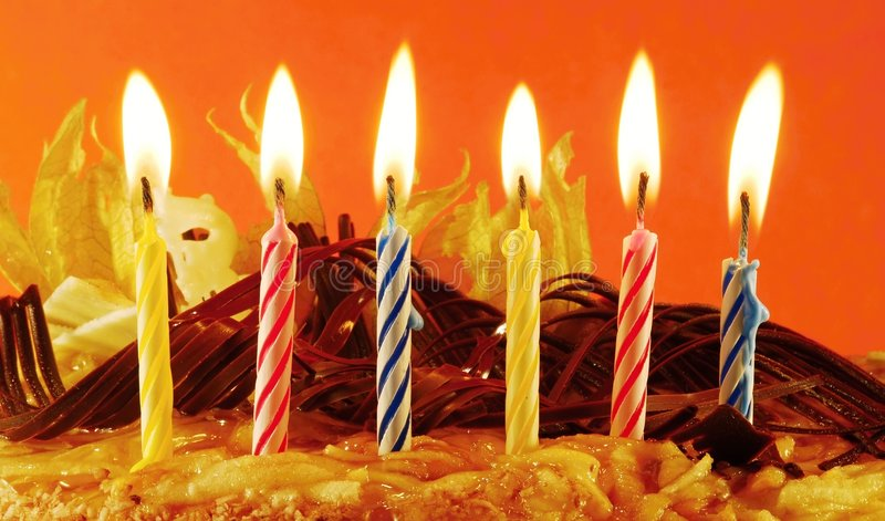 Birthday cake. With six candles stock photos