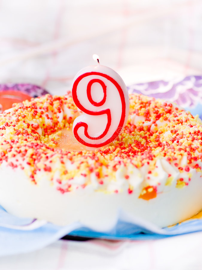 Birthday cake. For 9 years royalty free stock images