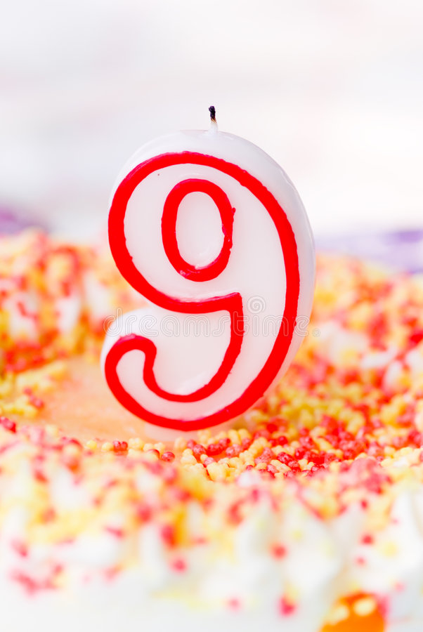 Birthday cake. For 9 years royalty free stock photography
