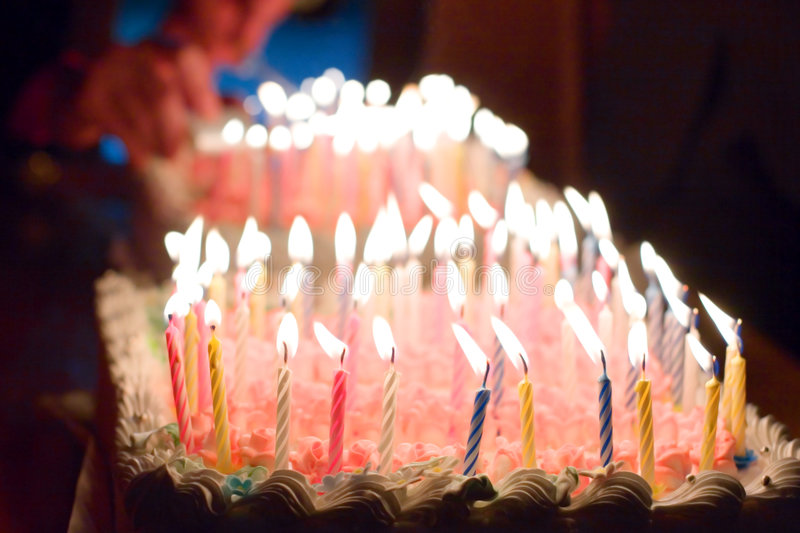 Birthday cake. And candles on it stock photo