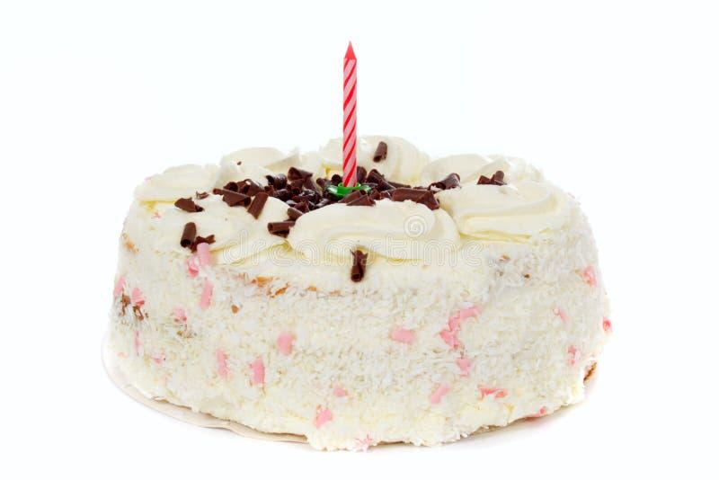 Birthday cake. Birthday white cake from one candle royalty free stock photos