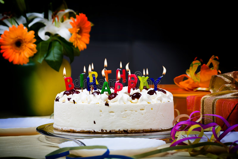 Birthday cake. On the table royalty free stock images