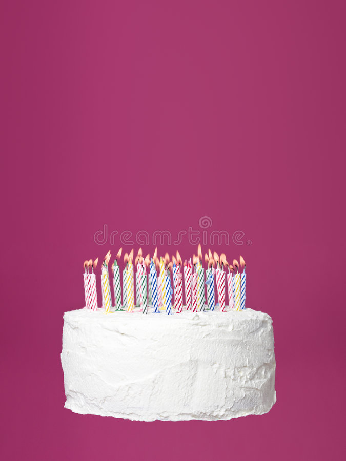 Birthday cake. Towards pink background royalty free stock photography