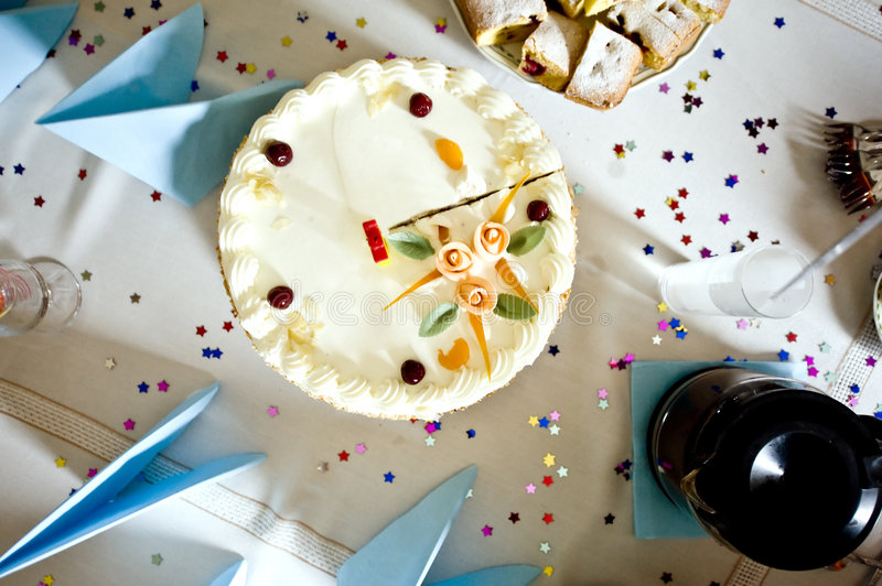 Birthday cake from above. Table composition - birthday cake ready for starting celebration stock image
