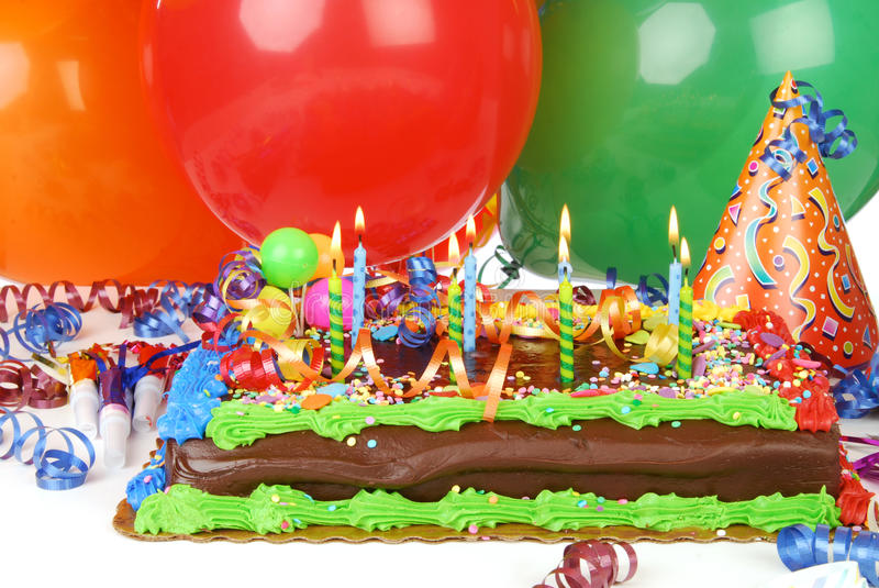 Birthday Cake Balloons Images ~ Birthday cake and balloons stock photo image of celebration