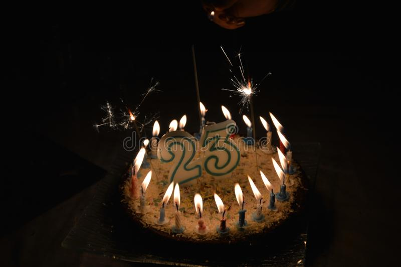 A birthday cake. Twenty three years royalty free stock photos