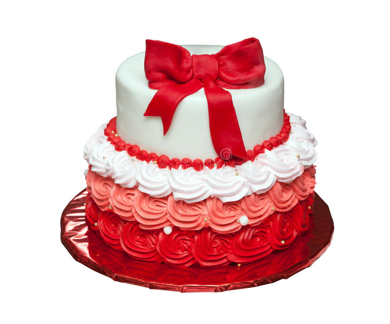 Birthday cake with bow on top isolated. On white background royalty free stock image
