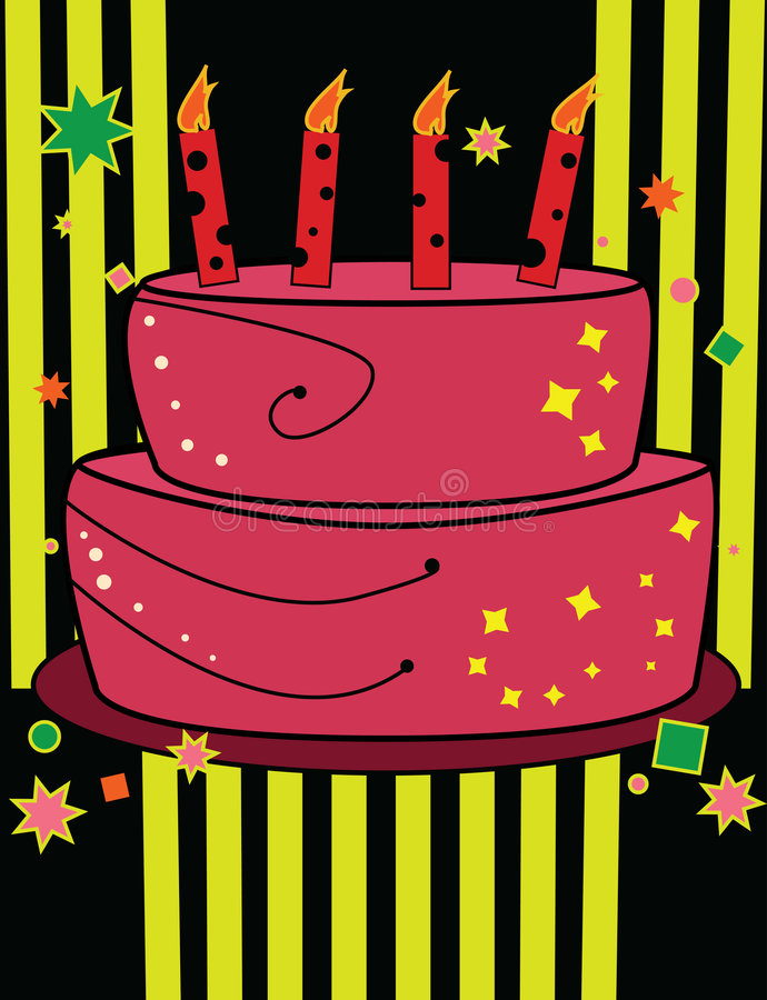 Birthday cake in bright colors royalty free illustration