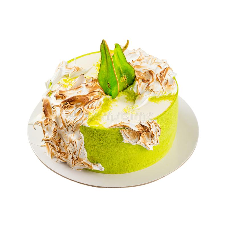 Birthday Cake With Burned Meringue And Colored Pear Slices Isol